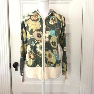 Sahalie Abstract Floral Zip Cardigan Sweater